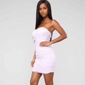 Fashion Nova Lilac Ruched Gauzy mini Dress